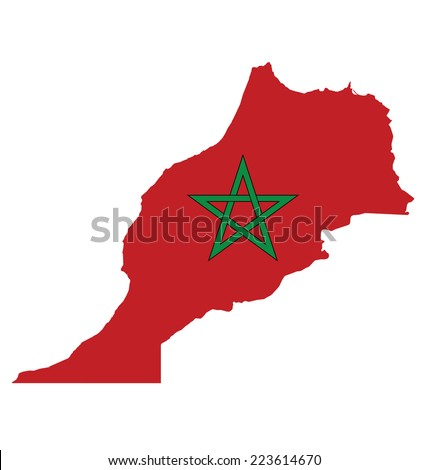 Flag of the Kingdom of Morocco overlaid on outline map isolated on white background