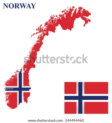 Flag of the Kingdom of Norway overlaid on detailed outline country map isolated on white background  - stock vector