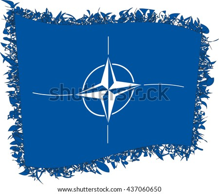 Flag of the North Atlantic Treaty Organisation (NATO), also called the North Atlantic Alliance. Vector illustration of a stylized flag. Shaggy edge. - stock vector