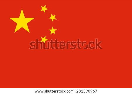 "Flag of the People's Republic of China ""Five-star red flag."" Official chinese state symbol of the country. Yellow stars on a red background. True colors, sizes and shapes. Vector illustration."