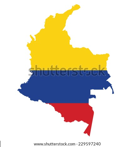 Flag of the Republic of Colombia overlaid on detailed outline map isolated on white background  - stock vector