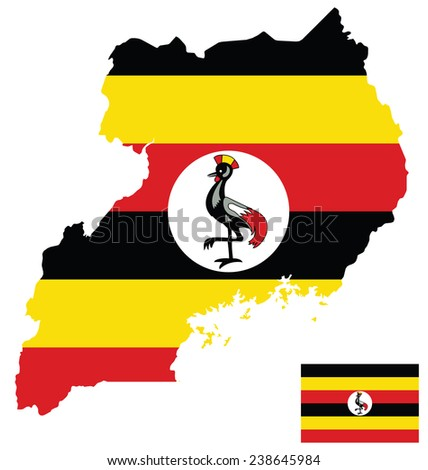 Flag of the Republic of Uganda overlaid on detailed outline map isolated on white background  - stock vector
