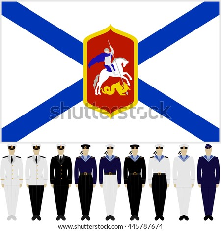 Flag of the Russian Navy, and soldiers and officers in the uniform of the Navy. The illustration on a white background.
