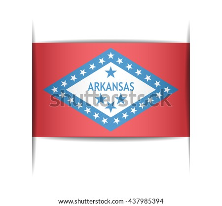 Flag of the state of Arkansas. Vector illustration of a stylized flag. The slit in the paper with shadows. Element for infographics. - stock vector
