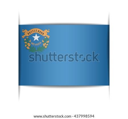 Flag of the state of Nevada. Vector illustration of a stylized flag. The slit in the paper with shadows. Element for infographics.