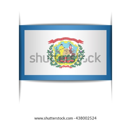 Flag of the state of West Virginia. Vector illustration of a stylized flag. The slit in the paper with shadows. Element for infographics. - stock vector