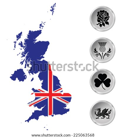 Flag of the United Kingdom of Great Britain and Northern Ireland overlaid on outline map and national emblem buttons isolated on white background  - stock vector
