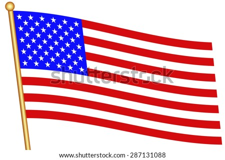 Flag of the United States and flagstaff. All objects are independent and fully editable - stock vector