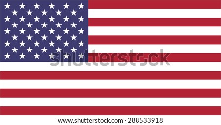 Flag of the United States of America, original size and official colors old glory red and old glory blue. Vector illustration and high resolution jpeg