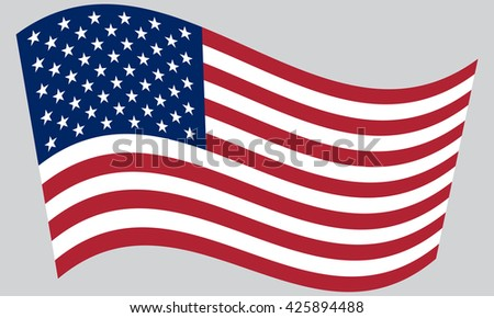 Flag of the United States waving on gray background - stock vector