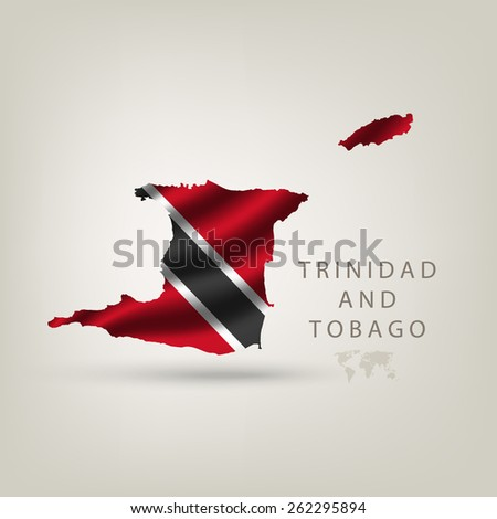 Flag of TRINIDAD AND TOBAGO as a country with shadow - stock vector