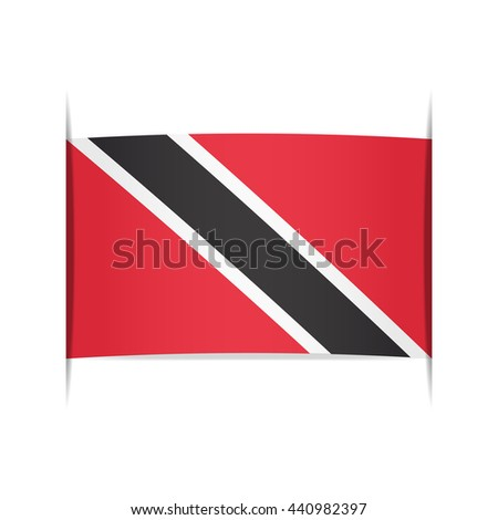 Flag of Trinidad and Tobago, officially the Republic of Trinidad and Tobago. Vector illustration of a stylized flag. The slit in the paper with shadows. Element for infographics.