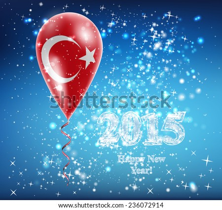 Flag of Turkey. Flag of the country in a balloon. The celebration and gifts. Balloon on Happy New Year. Merry Christmas. The sky sparkles with stars and snowflakes. Vector. Icon.  - stock vector