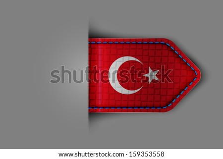 Flag of Turkey in the form of a glossy textured label or bookmark. Vector illustration. - stock vector