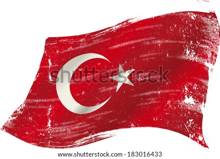 flag of  Turkey in the wind with a texture