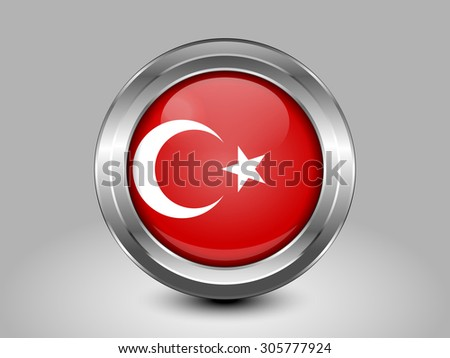 Flag of Turkey. Metal Round Icons. This is File from the Collection European Flags - stock vector