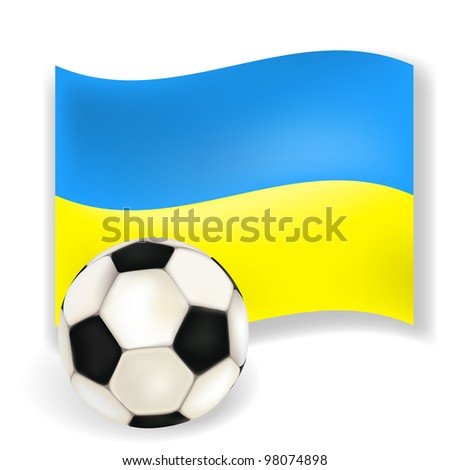 Flag of  Ukraine- country of 2012 football championship with soccerball on white background. Vector illustration - stock vector