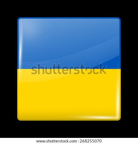 Flag of Ukraine. Glossy Icons Square Shape. This is File from the Collection European Flags - stock vector