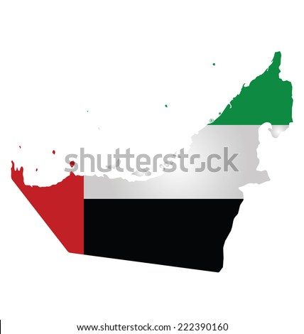 Flag of United Arab Emirates overlaid on outline map isolated on white background  - stock vector