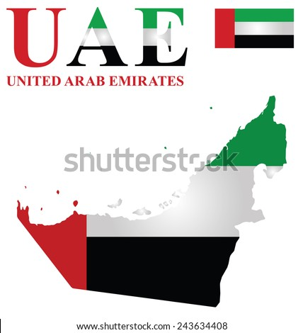 Flag of United Arab Emirates overlaid on outline map isolated on white background  - stock vector