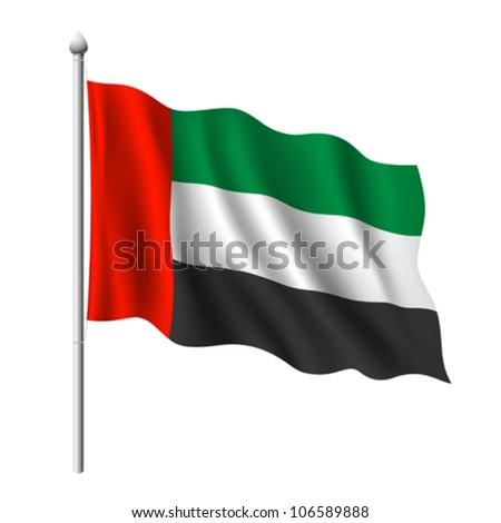 Flag of United Arab Emirates, vector illustration - stock vector