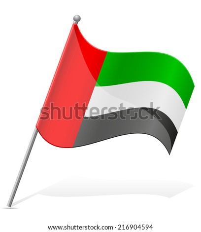 flag of United Arab Emirates vector illustration isolated on white background - stock vector