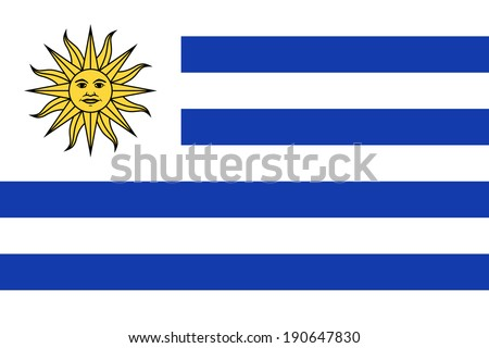 Flag of Uruguay. Vector. Accurate dimensions, elements proportions and colors. - stock vector