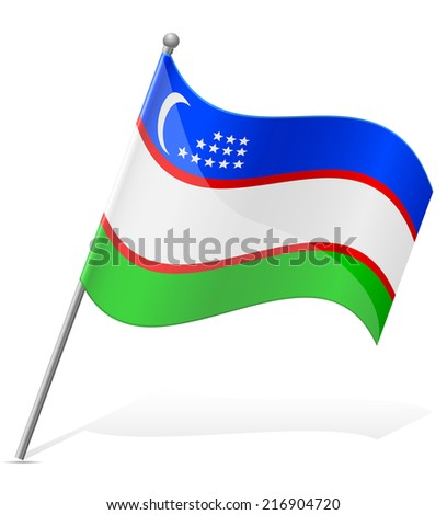 flag of Uzbekistan vector illustration isolated on white background - stock vector