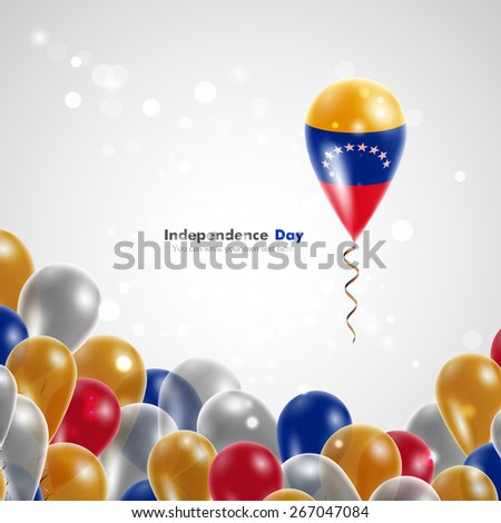 Flag of Venezuela on balloon. Celebration and gifts. Ribbon in the colors of the flag are twisted under the balloon. Independence Day. Balloons on the feast of the national day. - stock vector
