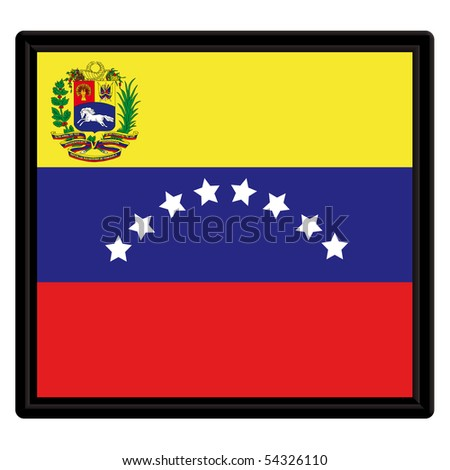 Flag of Venezuela with black frame - stock vector