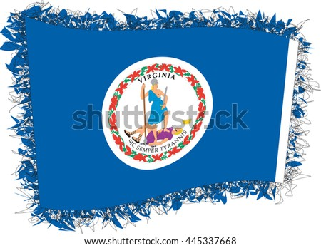 Flag of Virginia. Vector illustration of a stylized flag. Shaggy edge. - stock vector