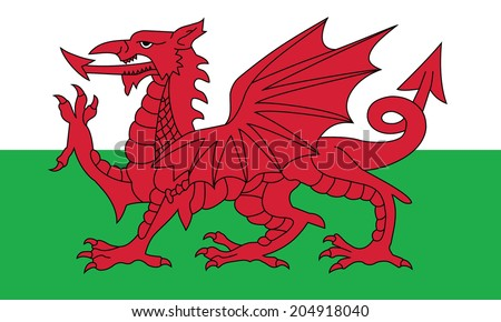 Flag of Wales. Vector. Accurate dimensions, element proportions and colors. - stock vector