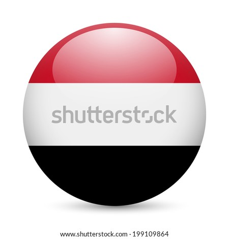 Flag of Yemen as round glossy icon. Button with Yemeni flag - stock vector