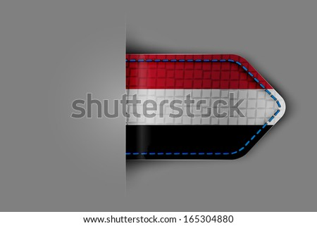 Flag of Yemen in the form of a glossy textured label or bookmark. Vector illustration. - stock vector
