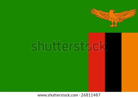 Flag of Zambia. Illustration over white background - stock vector