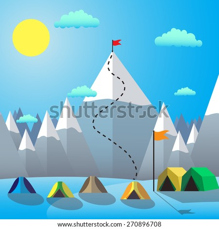 Flag On The Mountain Peak. Goal Achievement. Flat design vector illustration - stock vector