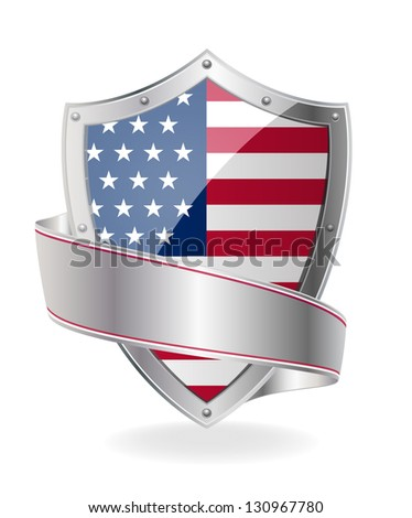 Flag on the shield - stock vector
