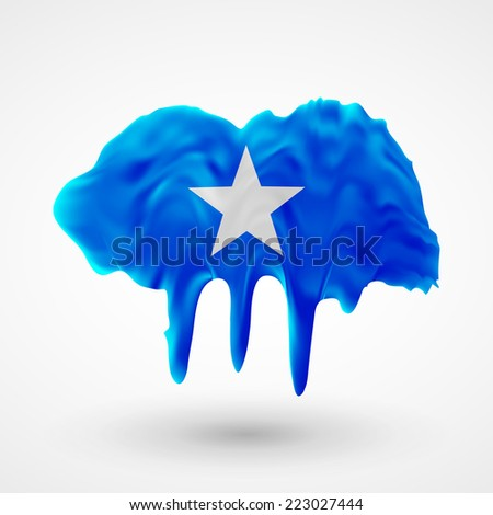 Flag painted colors. Blot with paint streaks with the national colors. Independence Day. International relations. Flag of Somalia