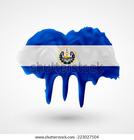 Flag painted colors. Blot with paint streaks with the national colors. Independence Day. International relations. Flag of El Salvador - stock vector