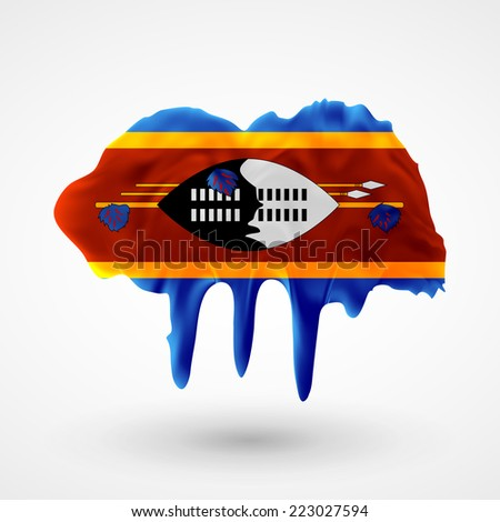 Flag painted colors. Blot with paint streaks with the national colors. Independence Day. International relations. Flag of Swaziland - stock vector
