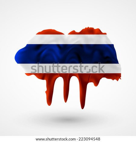 Flag painted colors. Blot with paint streaks with the national colors. Independence Day. International relations. Flag of Thailand. Use for brochures, printed materials, icons, logos, signs,  elements - stock vector
