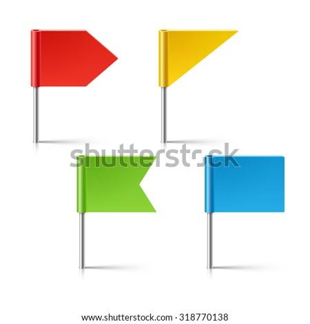 Flag pins fixed - stock vector