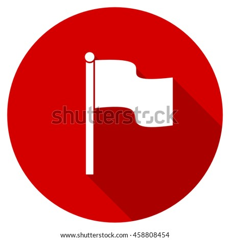 flag red vector icon, circle flat design internet button, web and mobile app illustration