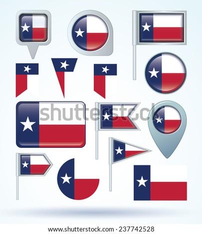 Flag set of Texas, vector illustration - stock vector
