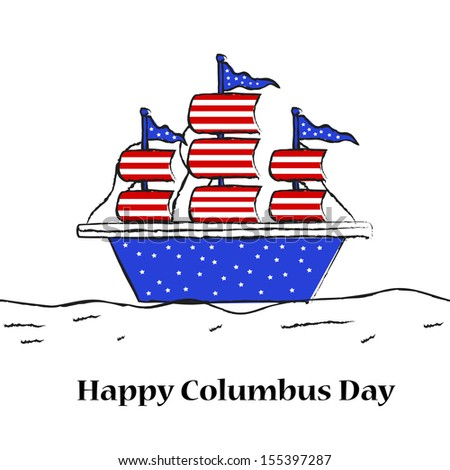 Flag Shaded Ship for Columbus Day