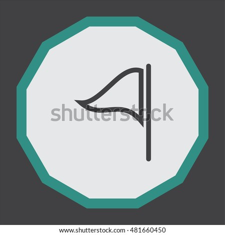 Flag sign line vector icon. Waving flag icon. Location pointer symbol.