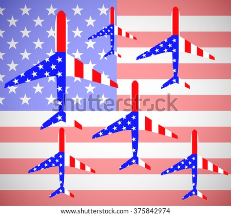 Flag USA in shape airplane. Vector illustration. Eps10