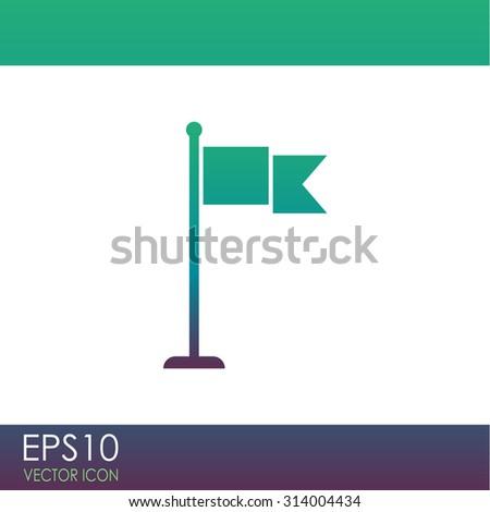 Flag vector icon. Check mark. - stock vector