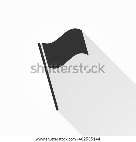 Flag    vector icon with long shadow. Illustration isolated on with background for graphic and web design.