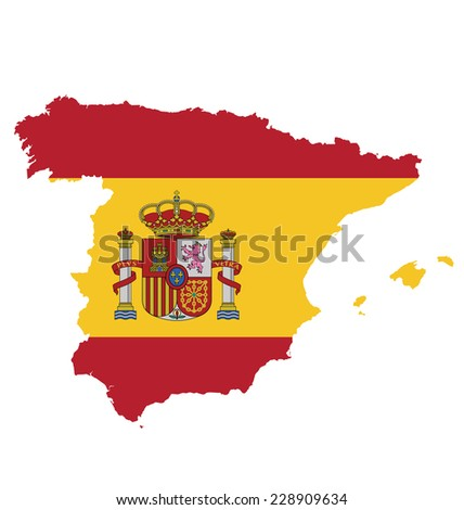 Flag with coat of arms of the Kingdom of Spain overlaid on outline map isolated on white background  - stock vector